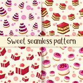 Set Of Colorful Seamless Pattern With Tasty Desserts In Cartoon Style. Cake, Jelly And Cheesecake. V poster