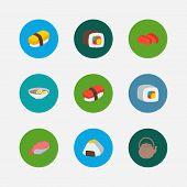 Sushi Icons Set. Sashimi And Sushi Icons With Ebi Nigiri, Tamago Nigiri And Sushi Roll. Set Of Porti poster