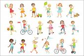 Kids Playing Outside Set Of Simple Design Illustrations In Cute Fun Cartoon Style Isolated On White  poster