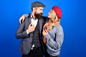 Amorous Happy Couple. Handsome Bearded Man Embracing Girlfriend. Cute Couple In Warm Clothes. Copy S poster