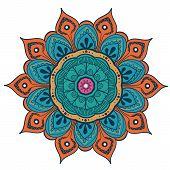 Mandala Vector Design Element. Round Ornament Decoration. Colorful Flower Pattern. Stylized Floral M poster