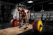 Athlete Strong Man Motivates Screaming Before Training Barbells Exercise Gym. Concept Workout, Fitne poster