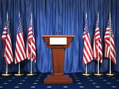 Podium speaker tribune with USA flags. Briefing of president of United states in White House. Politi poster
