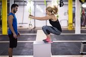 young athletic woman training with personal trainer  jumping on fit box at cross fitness gym poster