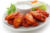 stock photo of dipping  - buffalo chicken wings with blue cheese dip - JPG