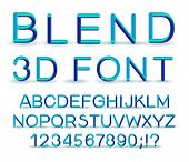 3d Alphabet. Vector Set Of Color Letters. Font With A Transition. Gradient Lettering. Transition Of  poster