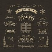 Western Hand Drawn Banners Vintage Badge Vector poster