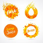 Orange Juice Label Splash Set Design. Drops Bubbly And Lettering Logo On White Background. Mango, Pi poster