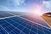 Solar energy modern electric power production technology renewable energy concept poster