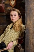 Lady On Dreamy Face In Plaid Clothes Looks Casual. Girl In Casual Outfit Sits In Wooden Vintage Inte poster