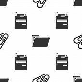 Set Paper Clip, Document Folder And File Document And Paper Clip On Seamless Pattern. Vector poster