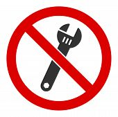 No Spanner Vector Icon. Flat No Spanner Pictogram Is Isolated On A White Background. poster
