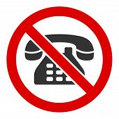 No Telephone Vector Icon. Flat No Telephone Pictogram Is Isolated On A White Background. poster