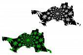 Atyrau Region (republic Of Kazakhstan, Regions Of Kazakhstan) Map Is Designed Cannabis Leaf Green An poster