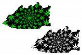 Karaganda Region (republic Of Kazakhstan, Regions Of Kazakhstan) Map Is Designed Cannabis Leaf Green poster