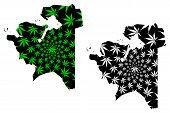 Mangystau Region (republic Of Kazakhstan, Regions Of Kazakhstan) Map Is Designed Cannabis Leaf Green poster