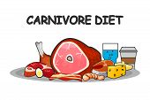 Carnivore Diet Vector Illustration. Carnivore Diet Food Elements. For Brochure Or Banners. poster