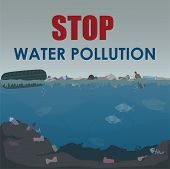 Stop Water Pollution Poster. Stock Vector Illustration. Different Garbage And Slime In The Water. En poster
