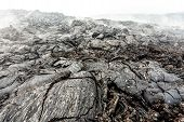 Solid Lava After Volcanic Eruption. Lava Fields Close Up, Natural Textured Background. poster