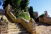 View Of Stairs Leading To Santuari Del Puig De Maria Surrounded By Rich Foliage, Mallorca, Spain 201 poster