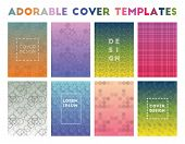 Adorable Cover Templates. Adorable Geometric Patterns, Curious Vector Illustration. poster
