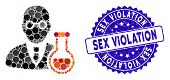Mosaic Chemist Icon And Grunge Stamp Seal With Sex Violation Phrase. Mosaic Vector Is Designed From  poster