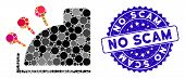 Mosaic Cash Machine Icon And Rubber Stamp Seal With No Scam Phrase. Mosaic Vector Is Composed With C poster