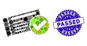 Mosaic Passed Icon And Distressed Stamp Watermark With Passed Caption. Mosaic Vector Is Designed Wit poster