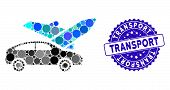 Collage Transport Icon And Corroded Stamp Seal With Transport Phrase. Mosaic Vector Is Formed With T poster