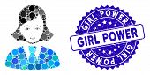 Mosaic Clerk Lady Icon And Grunge Stamp Seal With Girl Power Text. Mosaic Vector Is Designed With Cl poster