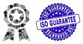 Collage Achievement Seal Icon And Grunge Stamp Seal With Iso Guarantee Phrase. Mosaic Vector Is Form poster