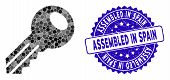 Mosaic Key Icon And Grunge Stamp Seal With Assembled In Spain Text. Mosaic Vector Is Created With Ke poster