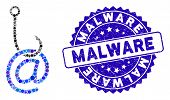 Mosaic Email Phishing Malware Icon And Distressed Stamp Seal With Malware Caption. Mosaic Vector Is  poster