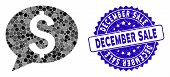 Mosaic Bank Message Icon And Grunge Stamp Watermark With December Sale Caption. Mosaic Vector Is Com poster