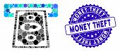 Mosaic Cashpoint Terminal Icon And Grunge Stamp Watermark With Money Theft Phrase. Mosaic Vector Is  poster