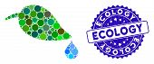 Mosaic Ecology Icon And Rubber Stamp Seal With Ecology Phrase. Mosaic Vector Is Created With Ecology poster