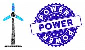 Mosaic Wind Power Generator Icon And Corroded Stamp Watermark With Power Phrase. Mosaic Vector Is Fo poster