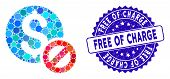 Collage Free Of Charge Icon And Grunge Stamp Watermark With Free Of Charge Text. Mosaic Vector Is Cr poster