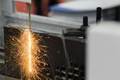 Steel  Plate Was Cut By Edm Wire Cut Process ; The Precision Process For Tooling Making Process ; In poster