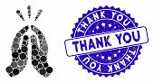 Mosaic Thank You Icon And Distressed Stamp Seal With Thank You Text. Mosaic Vector Is Formed With Th poster