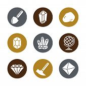 Geology Icons Set For Science, School, University. Flat Style. Geological Hammer, Shovel, Globe, Cry poster