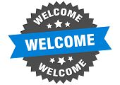 Welcome Sign. Welcome Blue-black Circular Band Label poster