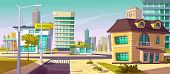 Urban Street Landscape With Shopping Mall And Residential Buildings In Background, Cartoon Vector. C poster