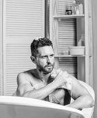 Hygiene And Health. Morning Shower. Man Wash Muscular Body With Foam Sponge. Macho Man Washing In Ba poster