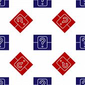 Blue And Red Mystery Box Or Random Loot Box For Games Icon Isolated Seamless Pattern On White Backgr poster