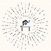Grey Table Saw For Woodwork Icon Isolated On Beige Background. Power Saw Bench. Abstract Circle Rand poster