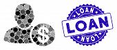 Mosaic Loan User Icon And Corroded Stamp Watermark With Loan Phrase. Mosaic Vector Is Formed With Lo poster