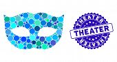 Mosaic Privacy Mask Icon And Distressed Stamp Seal With Theater Text. Mosaic Vector Is Composed With poster