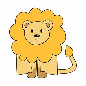 Cute Lion With Mane. Color Vector Illustration. The Element Is Isolated On A White Background. Wild  poster