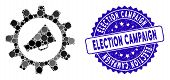 Mosaic Marketing Automation Icon And Grunge Stamp Watermark With Election Campaign Text. Mosaic Vect poster